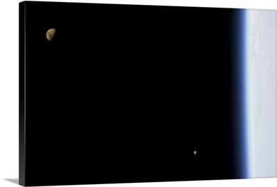 Earth, Moon and spaceship