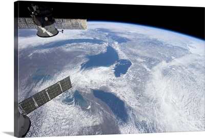 From Ontario to Superior, the Great Lakes in mid-March, as seen from Earth orbit