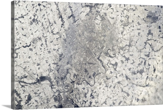 Kitchener-Waterloo in the snow, taken from the Space Station on the last day of 2012