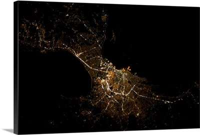 Manila, capital of the Philippines, beautifully, delicately shining in the night