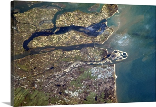 Rotterdam and the wide flat mouth of the Rhine-Maas delta