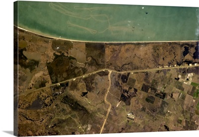 Texas coast - can you see where the shrimp boat has been?
