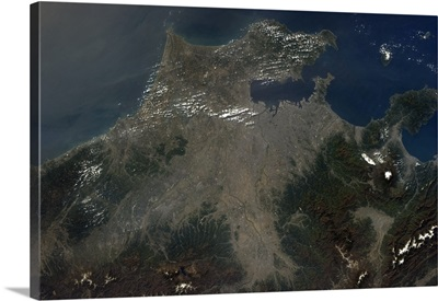 Tokyo harbour and Mt Fuji - humanity and nature visible from space