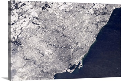 Toronto in snow - seen from the International Space Station
