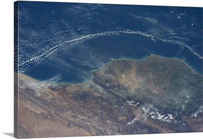 Very strange cloud pattern off Morocco's coast. Like Marrakesh has a force field