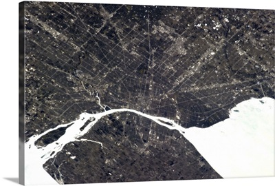 Windsor, Ontario, and Detroit, Michigan. One of the busiest border crossings.
