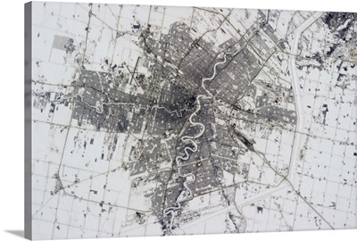 Winnipeg, Manitoba. The river floodway diversion looks smart from space
