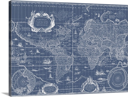 Blueprint world map wall art canvas prints framed prints wall blueprint world map malvernweather Image collections