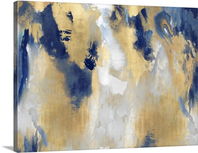 Abstract Gold Stains Indigo