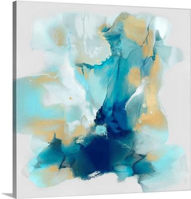 Blues Aqua Gold Abstract