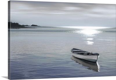 Wood Boat At Bay Grey