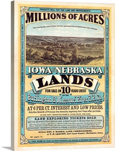 1872 Poster Advertising Land For Sale To Settlers During