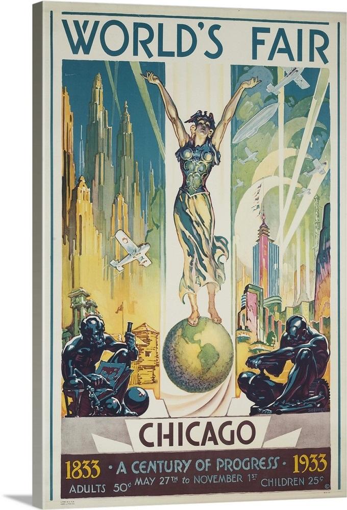 1933 Chicago Centennial World S Fair Poster Wall Art