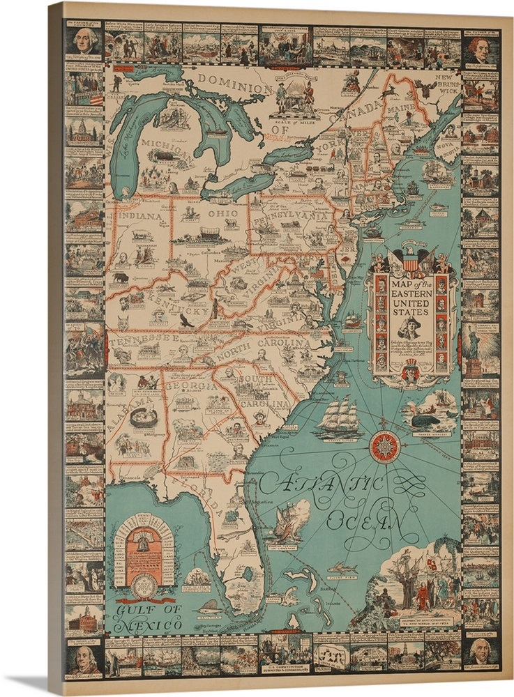 A Map Of Eastern United States Travel Map Poster Wall Art Canvas - Us-map-poster