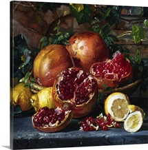 A Still Life of Pomegranates and Lemons by Magnus Otto Sophus Petersen