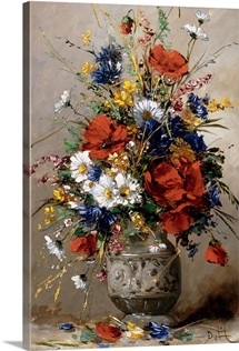 A Vase Of Summer Flowers By Eugene Petit