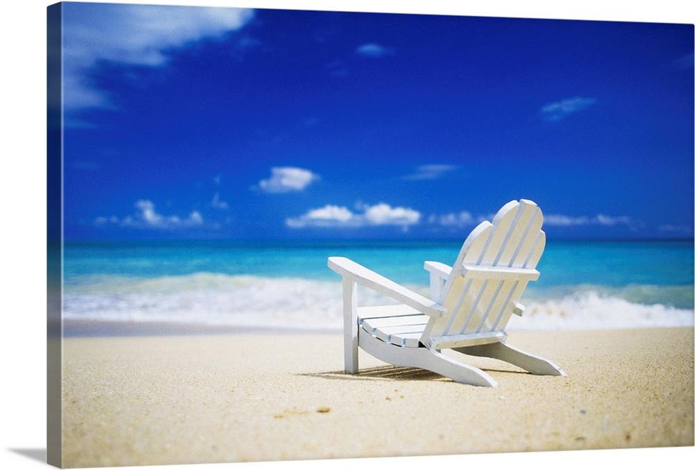 Adirondack Chair Sitting On A Beach In Honolulu, Hawaii