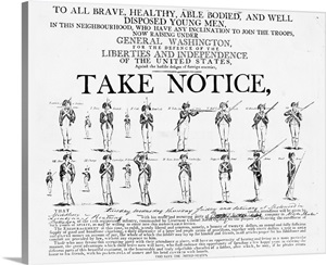 American Revolution Recruiting Poster Wall Art, Canvas