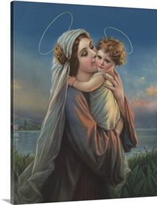 Calendar Illustration Of Virgin Mary Holding Baby Jesus ...