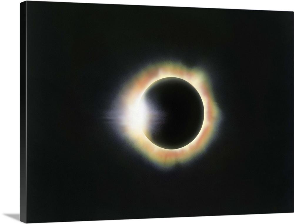 Total Solar Eclipse Color Diamond Ring Fine Art Photography Photographic Print Wall Art Decor Astronomical Photo