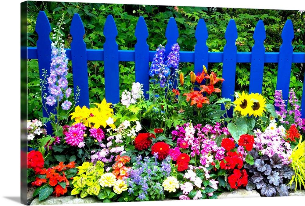 Merveilleux Flower Garden And Picket Fence