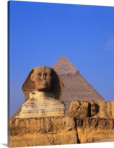 great sphinx and the pyramid of khafre wall art canvas prints