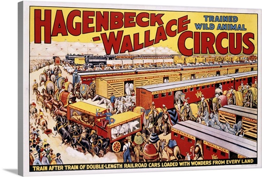 hagenbeck wallace trained wild animal circus poster wall art canvas