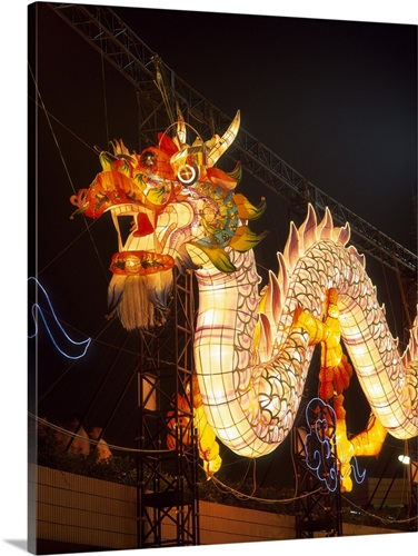 Illuminated Chinese Dragon on New Year\'s Eve, Hong Kong, China Wall ...