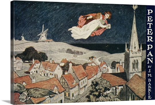 Illustration Of Peter Pan And Wendy Flying Over Town