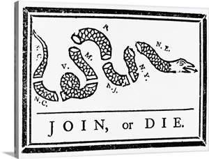 Join, Or Die Political Cartoon By Benjamin Franklin Wall