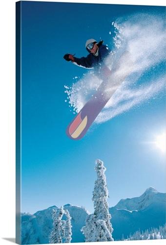 Man Snowboarding On Sunnny Day Wall Art, Canvas Prints, Framed ...