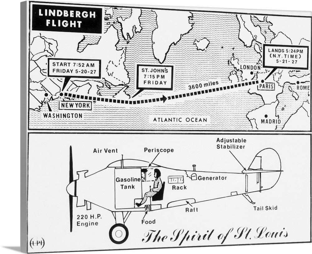 Map and Diagram of Lindbergh's Trans-Atlantic Flight