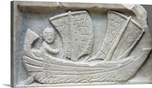Marble Relief Of A Man Sailing A Corbita