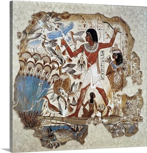 Nebamun hunting birds, Ancient Egyptian Art Wall Art, Canvas Prints ...