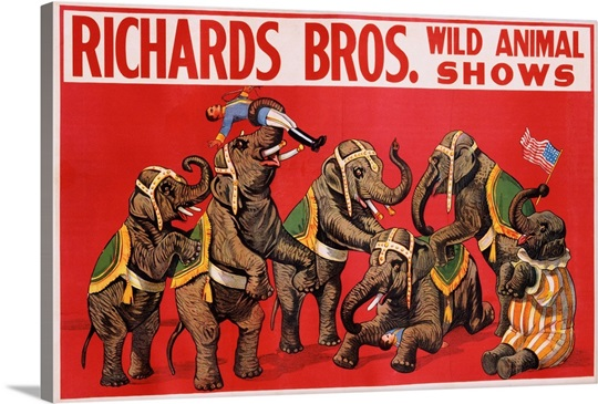 richards bros wild animal shows poster wall art canvas prints