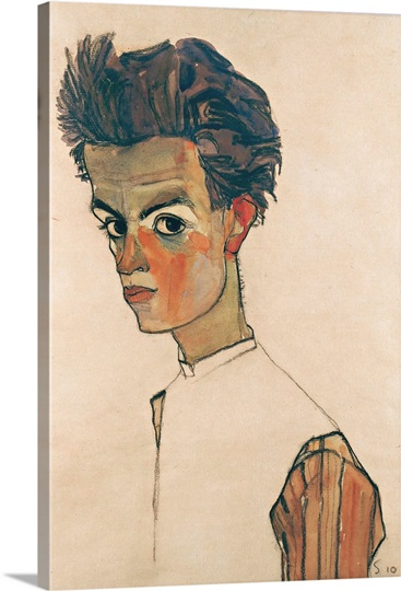 Self Portrait With Striped Shirt By Egon Schiele Wall Art