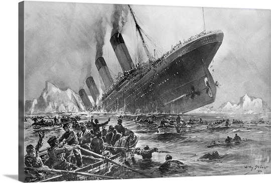 Sinking Of The Titanic By Willy Stoewer Wall Art, Canvas Prints ...