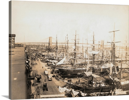 New York City Canvas Wall Art south street seaport in clipper ship era, new york city wall art