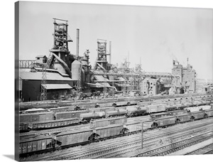Steel Mill In Youngstown Ohio 1956 Wall Art Canvas