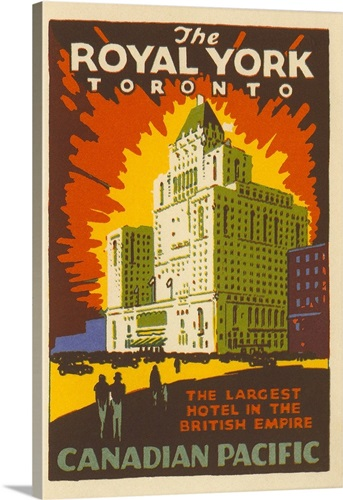 The Royal York Toronto Luggage Label Wall Art, Canvas Prints, Framed ...