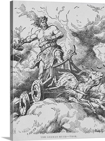 Thor Riding Chariot on Clouds