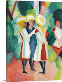 Three Girls In Yellow Straw Hats I By August Macke