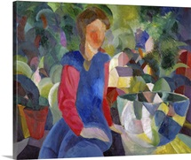 Woman With Fishbowl (Gemalde Madchen Mit Fischglas) By August Macke
