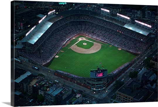 Wrigley Field as the Cubs host the Phillies in the first night game ...