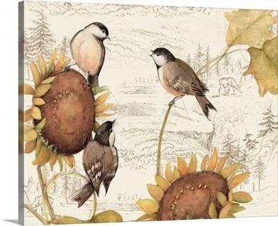 Birds on Sunflowers