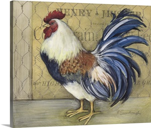 Blue Tail Rooster Wall Art Canvas Prints Framed Prints