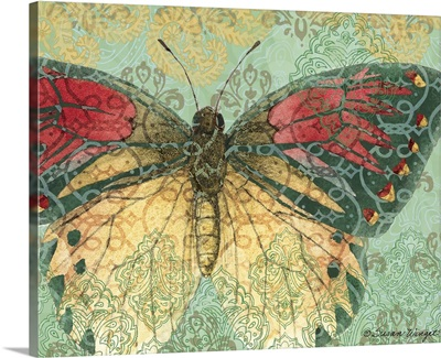Butterfly With Decorative Wings On Ornate Background
