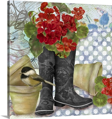 Geraniums in Boots