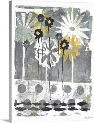 Gold And Silver Flower Print