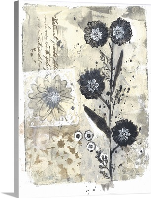 Gray And Silver Flower Print
